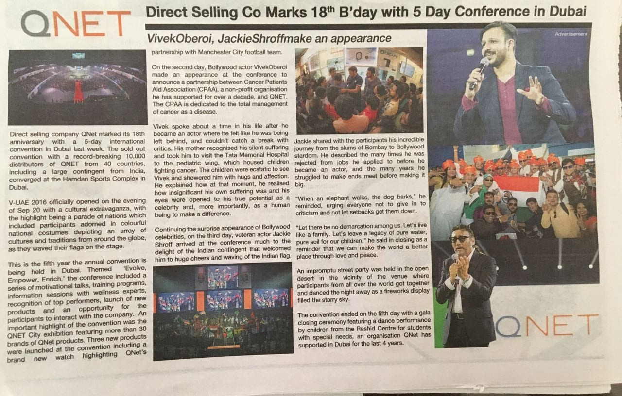 qnet in mid day newspaper
