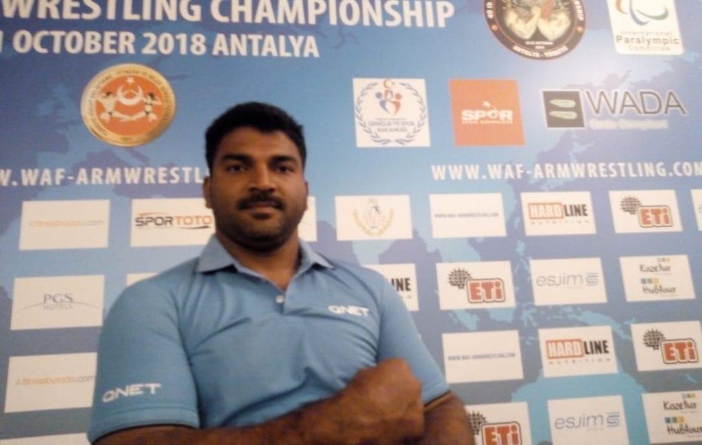 QNET India sponsored Sandesha BG, at the World Armwrestling Championship, Turkey