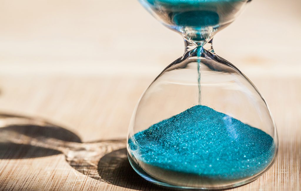 networking skills - hourglass shows patience as time passes by