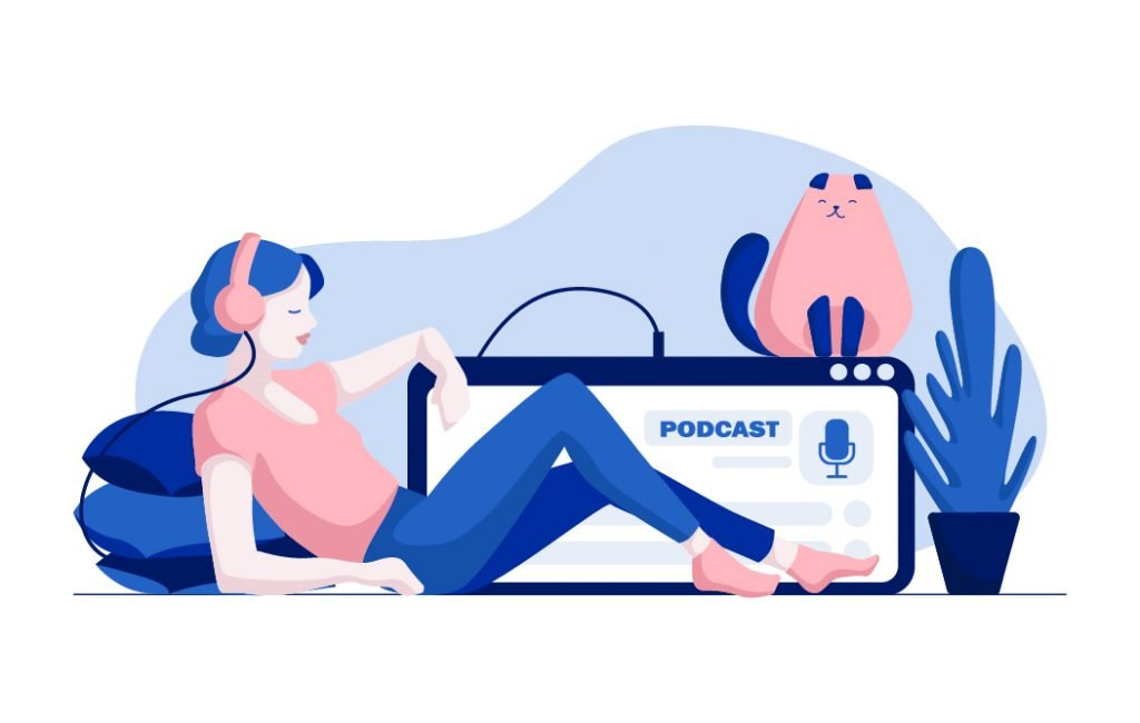 A woman listening to a podcast on her headphones