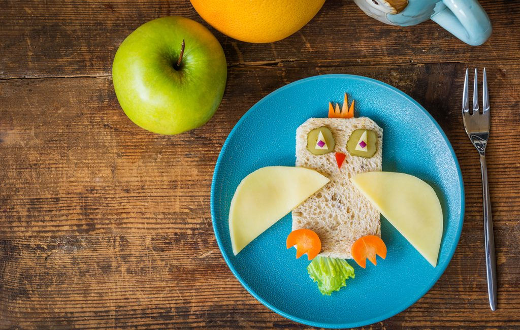 Nutriplus Kids Protein Power: A sandwich made to look like an owl with veggies