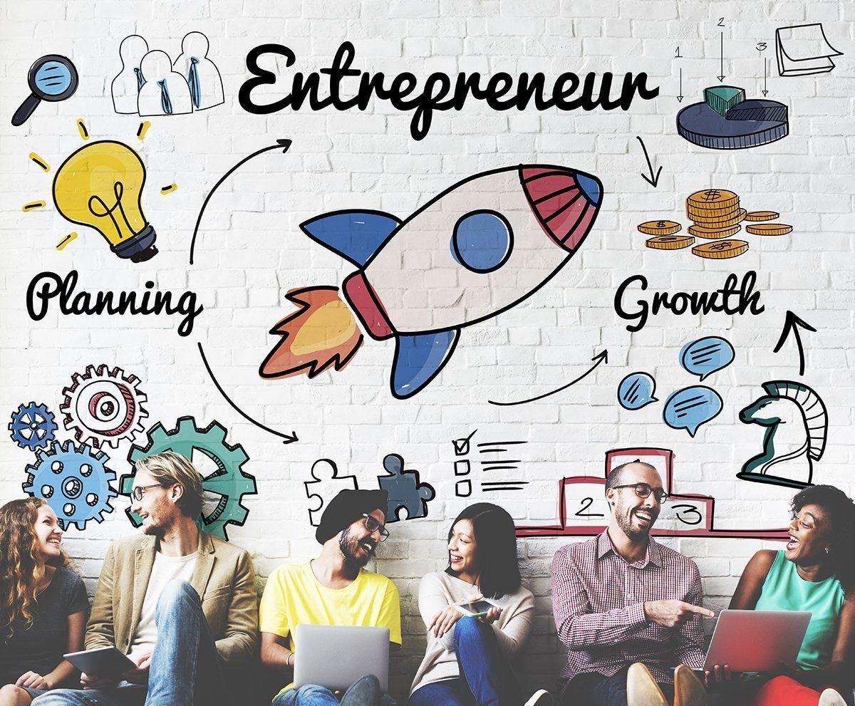 Entrepreneurship: An image of a group of people enjoying being entrepreneurs