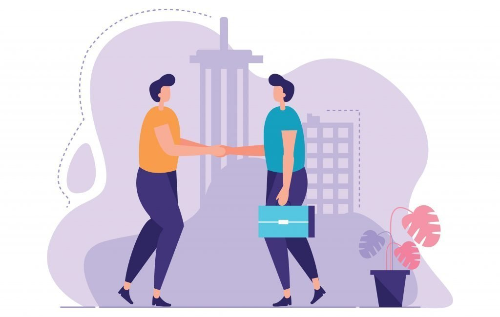 Illustrated image of two people shaking hands, a good way to get leads