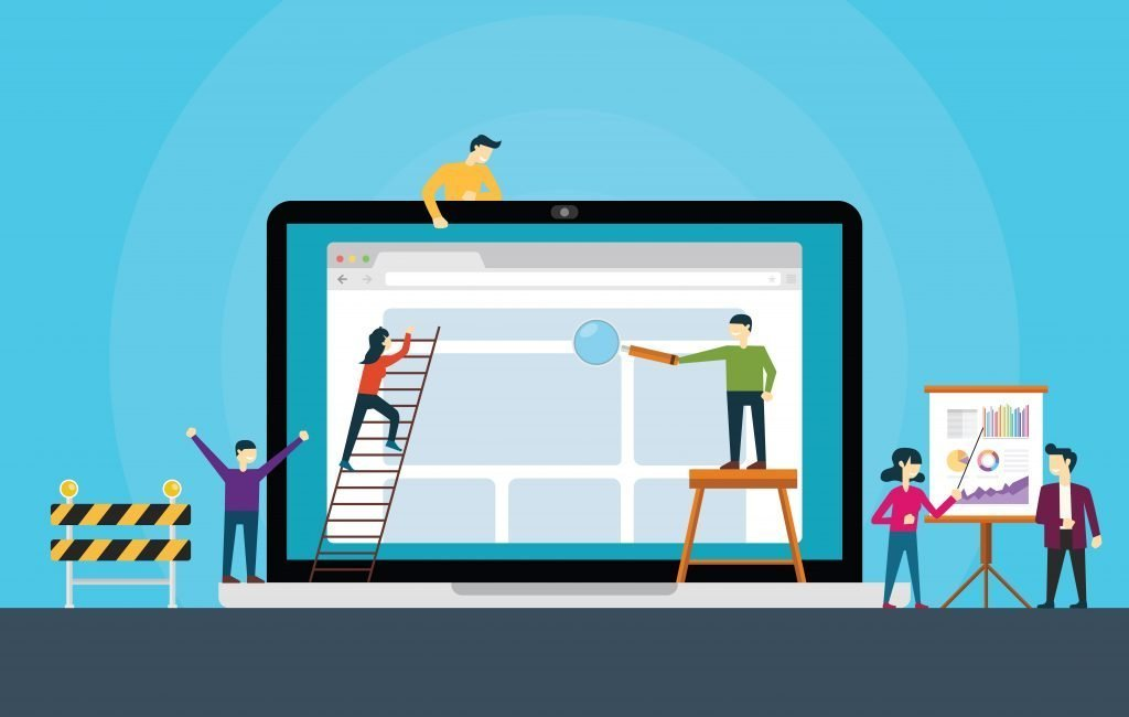 Illustration of people building a website which is integral to get leads