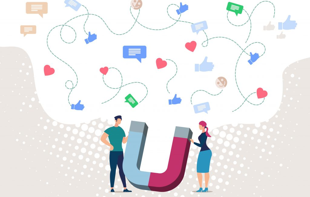 Illustration of a man and woman standing with a magnet that is attracting all social likes, crucial to get leads