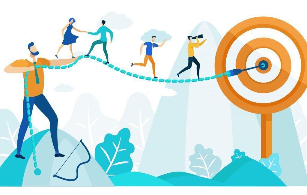 Servant leadership: Illustration of a man helping his team reach their target