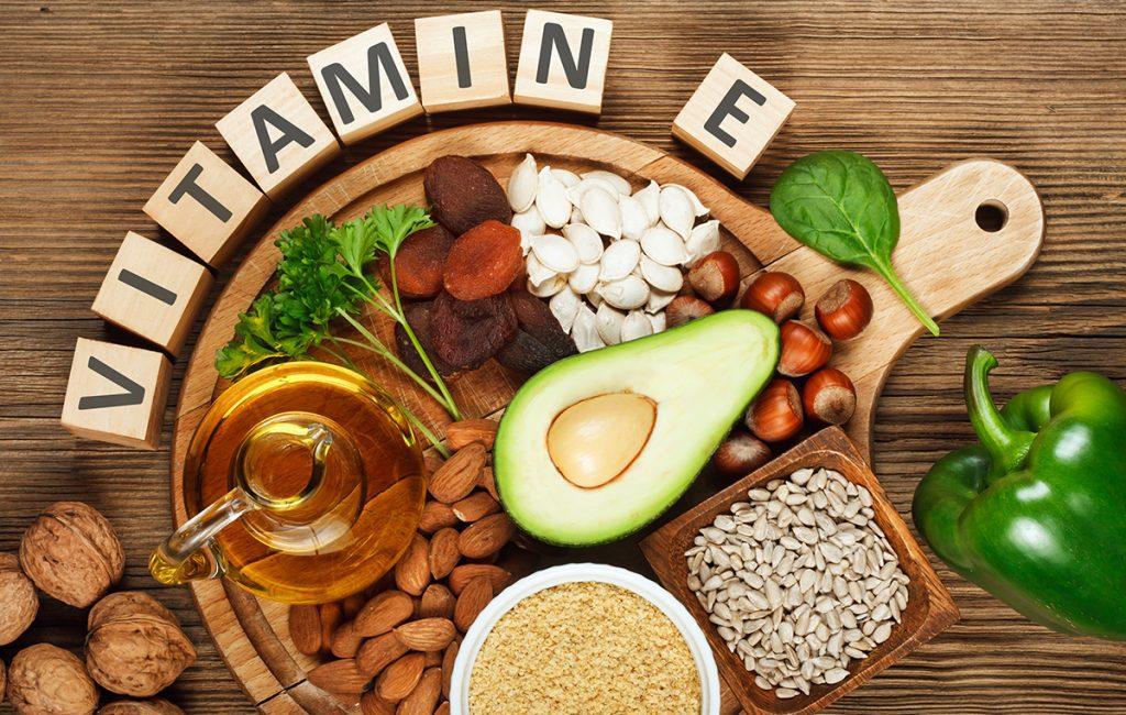 vitamin e for skin: A spread of vitamin e rich food items