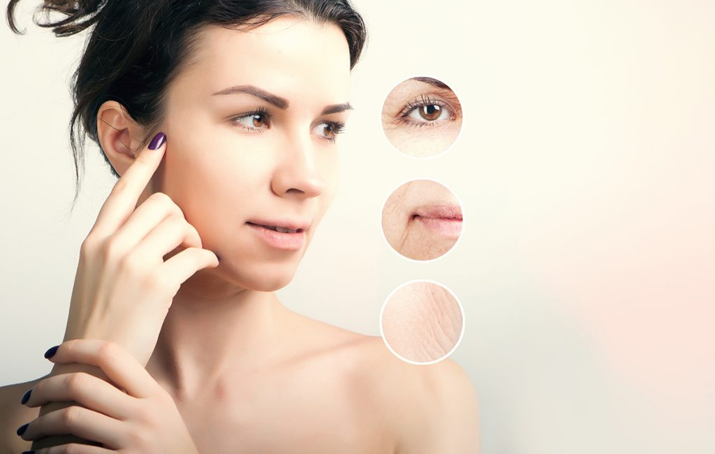 vitamin e for skin: a woman and visible signs of aging