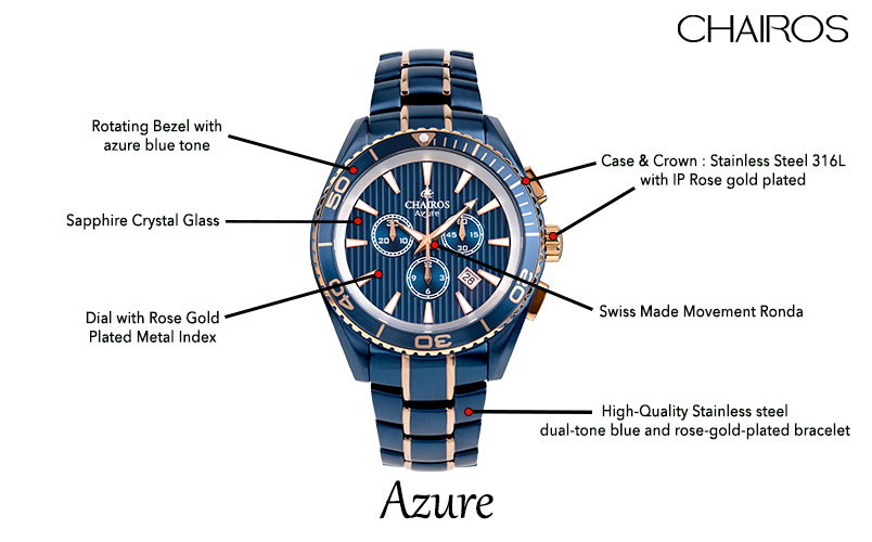 CHAIROS Azure watch parts and specifications highlighted.