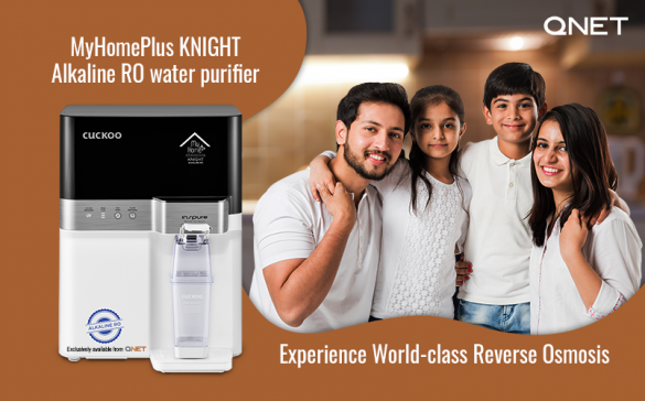 A happy family at home with MyHomePlus KNIGHT – Alkaline RO water purifier in the frame