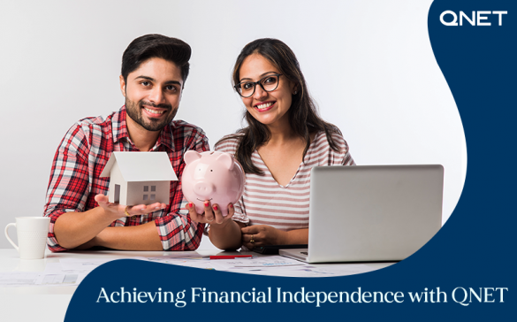 A young couple experiencing the benefits of financial independence with QNET