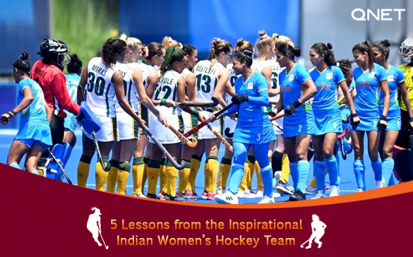 Indian women's hockey team players showcasing sportsmanship by participating in a pre-match hockey stick handshake against South Africa in the Olympics