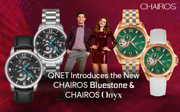 A young man and a woman standing next to each other with new luxury watches for men and women, CHAIROS Bluestone and CHAIROS Onyx in the frame
